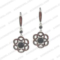Earrings 925 sterling silver  2-tone Rhodium and black rhodium