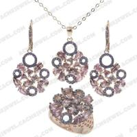 Jewellery Set 925 sterling silver  2-tone Rose gold and black rhodium